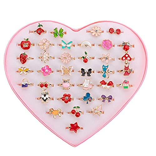 36PCS Kids Princess Rings Adjustable Finger Jewelry Cute Christmas Gifts with Display Box Style1