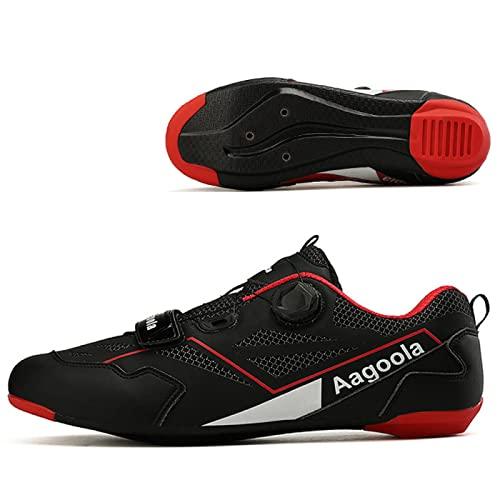 ASORT Calzado de Ciclismo de Carretera para Hombre Calzado de Ciclismo de Interior Calzado Transpirable y Antideslizante para Bicicleta de Montaña MTB,Black-41EU