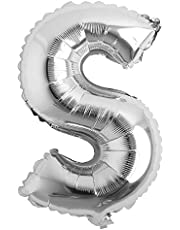 """16"""" inch Single Silver Alphabet Letter Number Balloons Aluminum Hanging Foil Film Balloon Wedding Birthday Party Decoration Banner Air Mylar Balloons (16 inch Silver S)"""