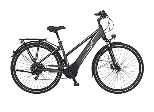Fischer Unisex– Erwachsene Damen-E-Bike Trekking VIATOR 5.0i, grau matt, 28 Zoll, RH 44 oder 49 cm, Brose Drive C Mittelmotor 50 Nm, 36 V Akku, Rahmenhöhe 44 cm