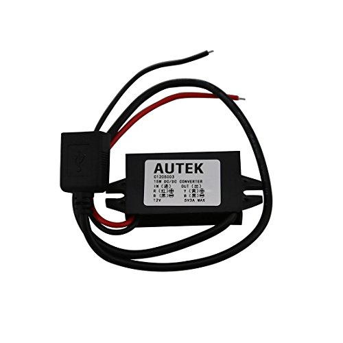 AUTEK DC DC Converter Buck Module 12V/24V To 5V 3A USB Output Step Down Voltage Regulator Charge Compatible for iPad iPhone 4S 5 6/6 Plus etc (Standard USB)
