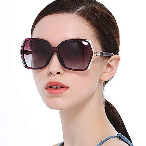 Protección UV de estilo clásico Gafas de sol para mujer Rhinestone polarizado...