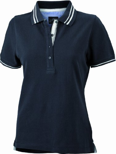 James & Nicholson Damen Poloshirt Ladies\' Lifestyle Large black/off-white