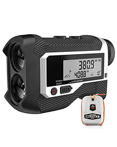 Mileseey telémetro Golf/Caza de 800m con Pantalla LCD telémetros Golf,con Interruptor de inclinación, Bloqueo de Bandera y vibración, precisión de ± 0,5 M, Montaje en trípode, escaneo Continuo