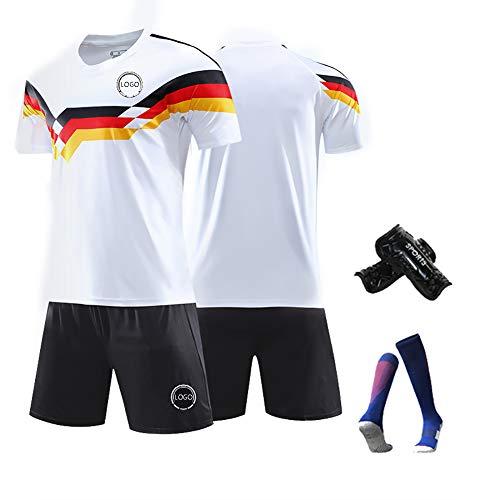 LHWQAN Retro Trikot Barack Klose Kahn Saison 1990 Deutschland Gedenkfußballtrikot Schnelltrocknend Trikot T-Shirt + Shorts Mehrfach waschbar Sammelbar Weiß-XL