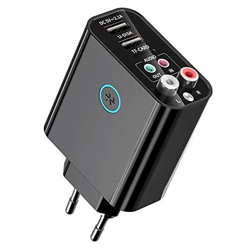Timagebreze Transmisor Receptor 2 en 1 Adaptador de Audio AUX 5.0 para TV Auriculares Altavoz PC Enchufe de la UE