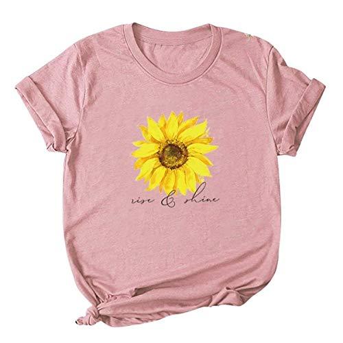 Camiseta de manga corta para mujer, casual, verano, diseño de girasol, con texto en inglés