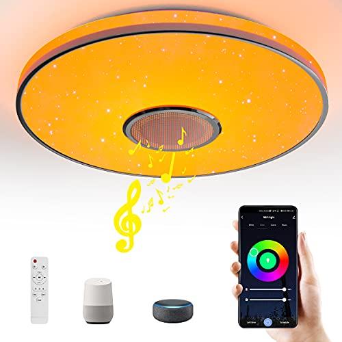 Wayrank Plafoniera LED con Altoparlante Bluetooth, Wifi RGB Lampada da Soffitto con Telecomando e Controllo APP, Dimmerabile Lampadario Moderno Compatibile Google Home