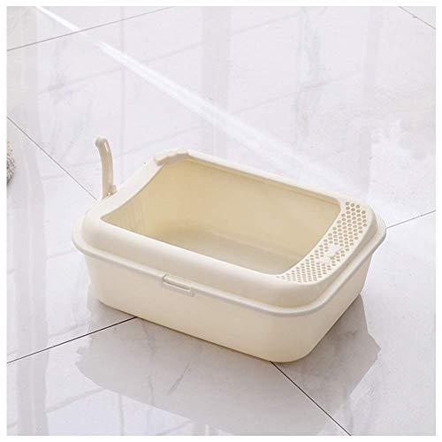 ZY Toilet Bowl Perro Gato con 1 Pala, Medio Rodeado Diseño Arena for Gatos Caja con Hueco Pedal (Color: Rosa) LOLDF1 (Color : White)
