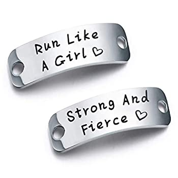 bobauna Shoe Lace Tag Run Like A Girl Strong and Fierce Inspirational Trainer Tags Gift for Runner Marathon Gift  Run Girl Strong Fierce