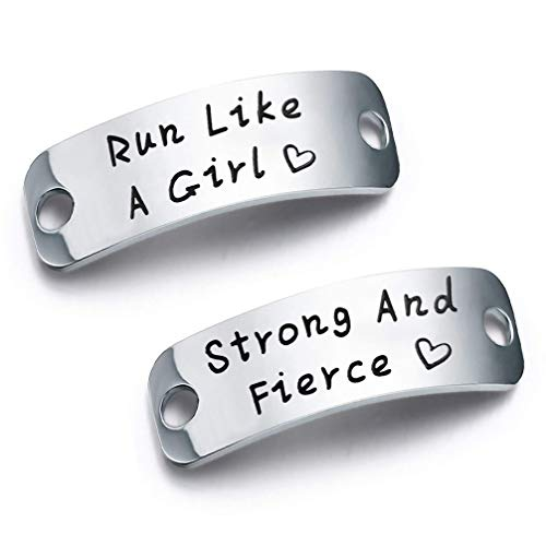 bobauna Shoe Lace Tag Run Like A Girl Strong and Fierce Inspirational Trainer Tags Gift for Runner Marathon Gift (Run Girl Strong Fierce)