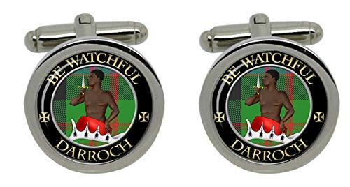 Darroch Clan écossais pour homme Écusson Chrome Boutons de manchette avec coffret cadeau