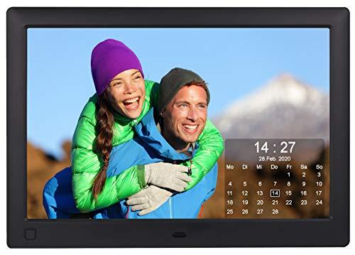 Cytem 10.1 Zoll Digitaler Bilderrahmen | 16:10 HD-IPS Display | Bewegungssensor | Transparente Kalender-Uhr | korrekte Bilddrehung und Größenanpassung | Gemischte Diaschau | min.10.000 Fotos | Schwarz