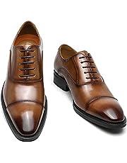[Poerkan] ビジネスシューズ メンズ 防水高級レザー 内羽根 ドレスシューズ ストレートチップ 紳士靴 ロングノーズ 革靴 25.0cm~28.0cm
