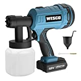 Cordless Paint Sprayer, WESCO 18V 2.0AH 500ml/min Paint Spray Gun with 2.5mm Nozzles and 3 Spray Patterns, 800 ml Container and 50 DIN-s, for varnishes, glazes and Fence Spray