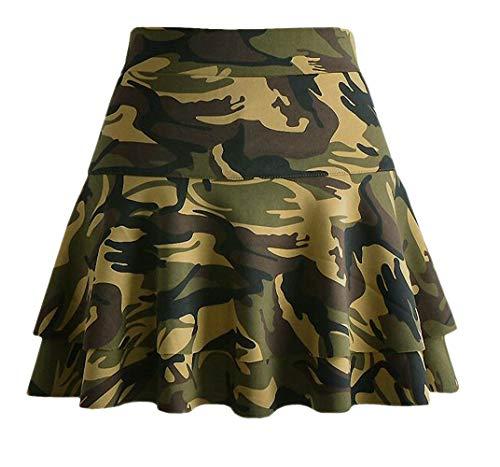 Afibi Casual Mini Stretch Waist Flared Plain Pleated Skater Skirt (Medium, Green Camo)