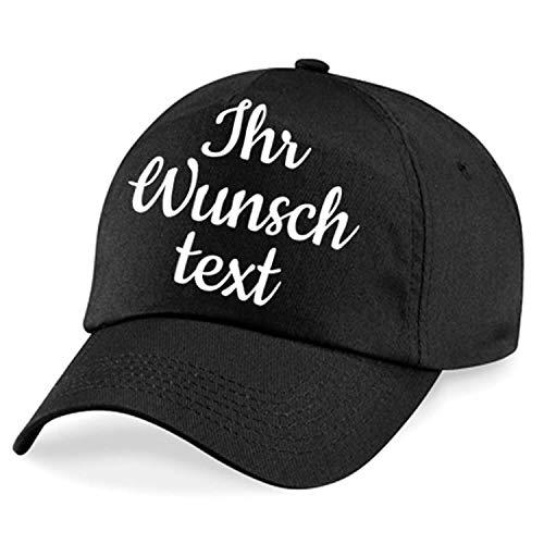 Deitert Kappe, Basecap individuell bestickbar mit Namen oder Wunschtext | 26 Farben zur Auswahl Schwarz