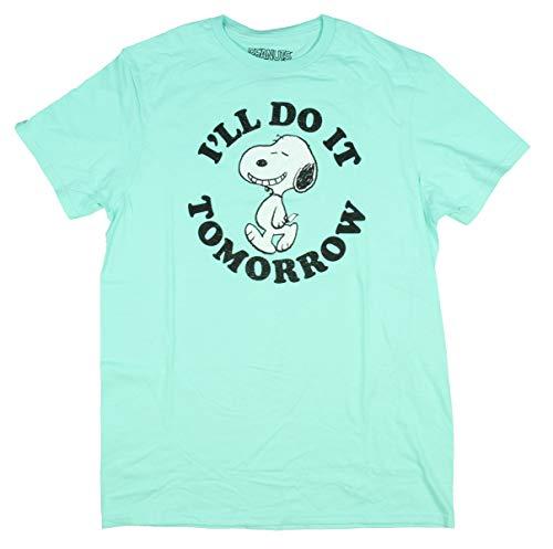 Peanuts Adult Distressed Snoopy I'll Do It Tomorrow T-Shirt For Men Women, Aquamarine, XX-Large