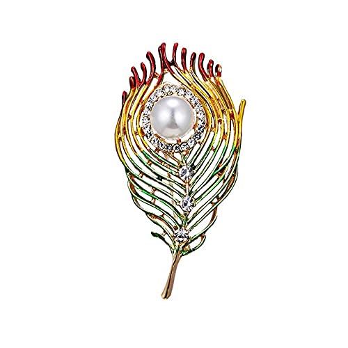 Broche de plumas esmaltadas a la moda para hombres, joyería, broches de cristal, perlas, accesorios para hijab de Navidad, broches para mujeres, alfileres-verde