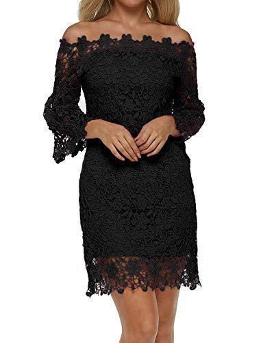 Auxo Damen Schulterfreie Langarm Kleider mit Spitze Elegant Blumen Kurz Abend Etuikleid Schwarz EU 36/Etikettgröße S
