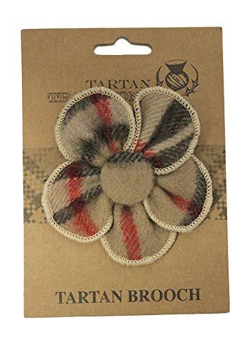 Tartan Traditions Camel Thomson Tartan Flower Brooch