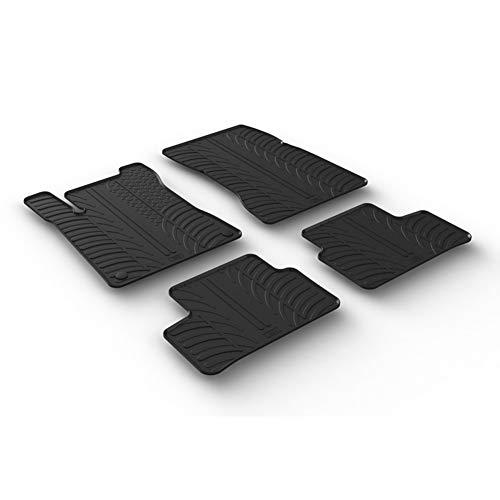 Set tapis de caoutchouc compatible avec Mercedes Classe-A W177 5/2018- & Classe-B W247 2/2019- & GLA H247 2020- (T profil 4-pièces + clips de montage)