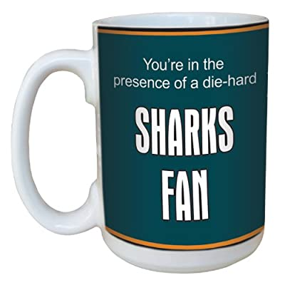 Tree-Free Greetings lm44192 Sharks Hockey Fan Ceramic Mug with Full-Sized Handle, 15-Ounce