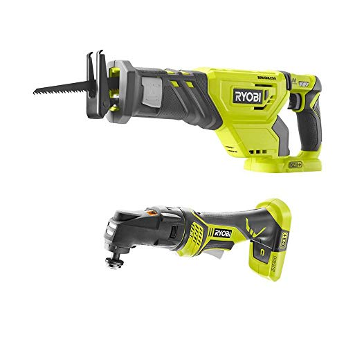 RYOBI P1933N 18-Volt ONE+ Cordless Combo Kit with Brushless Reciprocating Saw and JobPlus Base w/Multi-Tool Attachment (Tools Only)