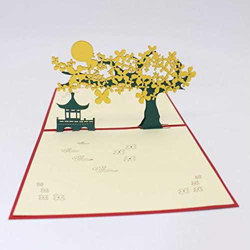 HUDETIE Handgemachter Pavillon Der Chinesischen Art-3D Unter Den Mond-Papier-Einladungs-Gruß-Karten Mit Kreativem Geschenk Des Umschlag-Geschäftstourismus