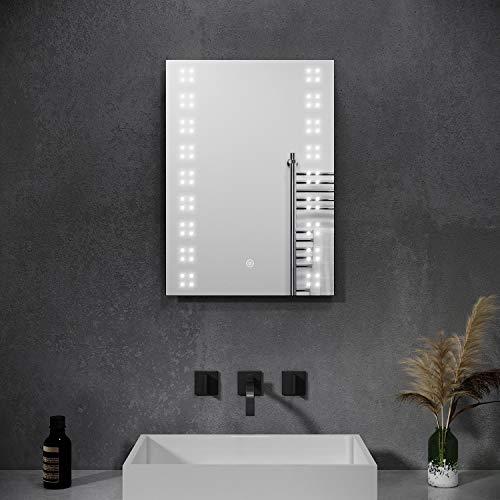 SONNI Badspiegel mit Beleuchtung 50 x 70 cm Beschlagfrei Badspiegel Badezimmerspiegel mit Beleuchtung mit Touch-Schalter Badezimmerspiegel Wandspiegel IP44