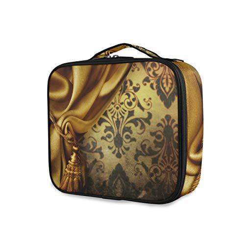 Portable Trousse De Toilette Outils Cosmétique Train Case Sac À Main De Stockage Maquillage Sac Voyage Golden Rideau