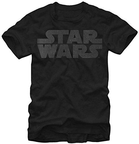 Star Wars Simplest Logo Adult T-Shirt - Black on Black (Medium)