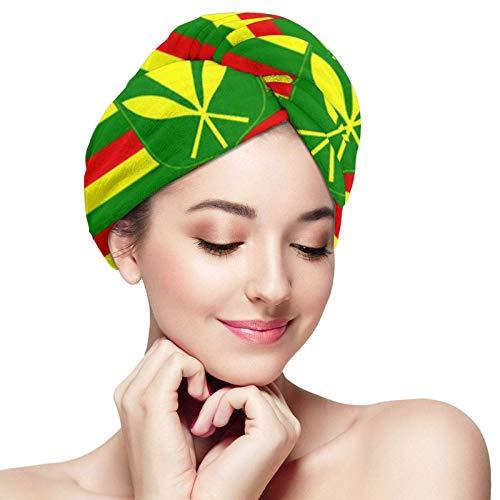 Toalla de secado de pelo de microfibra original de la bandera hawaiana, turbante de pelo con botón, toalla de baño de secado rápido para mujeres y niños