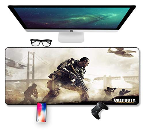 Mouse Mat Mission Warrior, Black Action 700X300mm muismat, Speed Gaming Mousepad, Extended XXL grote Mousemat met 2mm-dikke basis, voor notebooks, PC, H