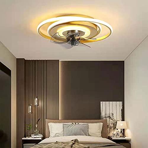 SDDS Ventilador De Techo LED con Iluminación, 48W Regulable con Mando A Distancia Silencio 6-Velocidad del Viento Ajustable Moderno Ventilador De Luz, Cuarto Comedor Oficina Lámpara De Techo,Oro