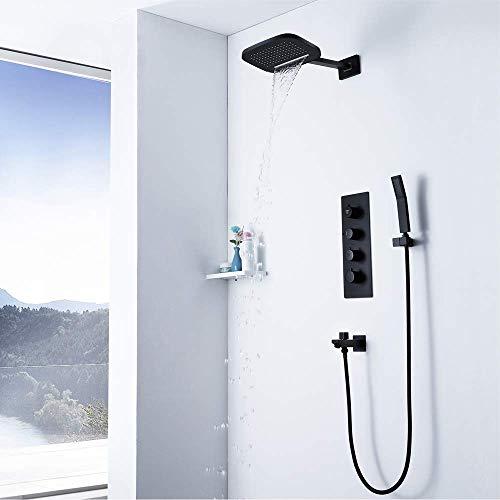GENFALIN Ducha del sistema, montado en la pared grifo de la ducha de baño ducha Mezclador Conjunto de techo cabezal de ducha y ducha de lluvia montado en la pared ducha de lluvia