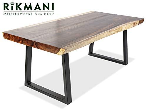 Rikmani Esstisch Holz Tisch Baumkante Schreibtisch Massivholz Samson (220 x 100 cm)