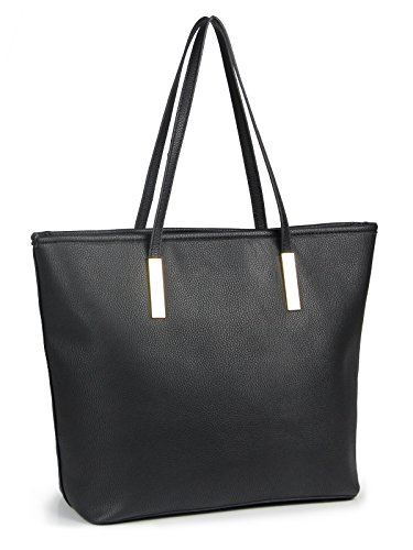 """QUALITY MATERIAL: Made of high-end faux leather, soft and comfortable to carry LARGE SIZE: 12.6"""" L x 11.8"""" H x 5.7"""" W, Top handle length: 9.3"""" H. Big enough to carry your daily necessities. Great for Work,School,Business,Travel,Shopping SIMPLE DESIGN..."""