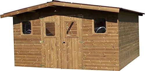Abri THERMABRI madriers sans Plancher, Toit Double Pente 15,14 m²