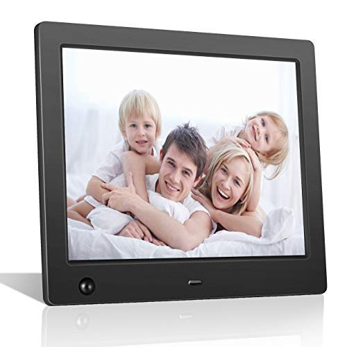 FLYAMAPIRIT Digital Picture Frame 8 inch Electronic Photo Frame with Motion Sensor and High Resolution 1024x768 IPS LCD/1080P 720P Video Player/Stereo/MP3/Calendar/Time/Remote