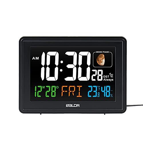 Estación meteorológica Grande LCD Pantalla, Reloj controlado por Radio, Termómetro de Temperatura Interior Digital para Exteriores,...