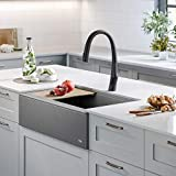 Kraus KGF2-33MGR Bellucci Workstation Quartz Composite Single Bowl Farmhouse Kitchen Sink, 33 Inch, Metallic Grey