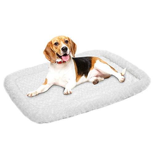 amorus Pet Bed | Deluxe Super Plush Dog Beds Ideal for Metal Dog Crates | Machine Wash & Dry Friendly (36'' x 24'', White)
