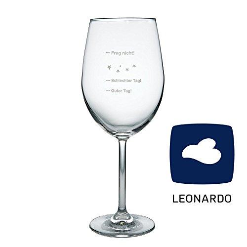 van Hoogen Leonardo XXL Weinglas Guter Tag! - Schlechter Tag! - Frag Nicht!, 640ml mit Gravur | Premium Weinglas mit Gravur | Rotweinglas | Weißweinglas | Tolles Geschenk