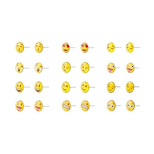 JOE COOL Varios Emoji Divertida Cara Conjunto de 12 Hierro y Resina Studded Pendientes