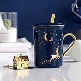 Heliansheng Starry Sky Tazza in ceramica Regalo Tazza in ceramica Coperchio Cucchiaio Confezione Business Casual Coffee Cup -blue-301-400ml