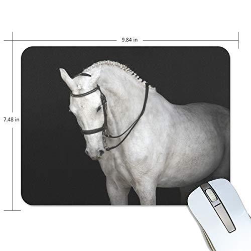 Mouse pad My Daily White Horse 25 x 19 x 0,5 cm, base de borracha antiderrapante para jogos e escritório