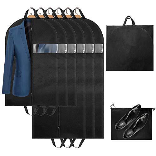 Kleidersäcke Uktunu Atmungsaktive Anzugtasche für Reisen 6 Stücke Kleiderhülle Anzughülle - Hochwertige Kleiderhülle für Anzug und Kleid Vor Staub Motten Schäden 137cm & 100cm inkl. Schuhbeutel