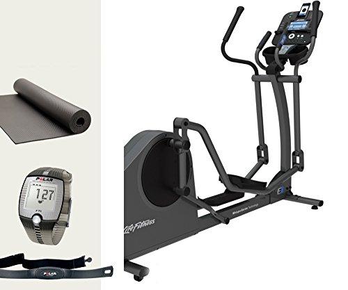 Life Fitness E1 Track Crosstrainer und FT1 Polar Pulsuhr, Brustgurt und Bodenmatte - Ellipsentrainer