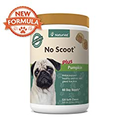 No Scoot Soft Chews helps support healthy anal sac & gland function. Special proprietary blend of active ingredients helps support normal bowel function. Enhanced with pumpkin to give your dog a healthy amount of fiber in their diet. For use in dogs ...